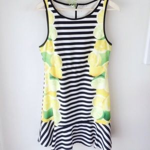 Elle Striped Lemon and Lime Slice Drop Waist Dress